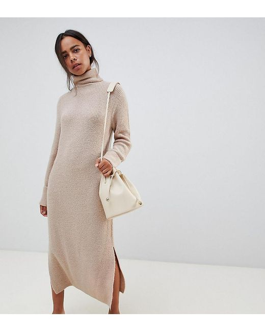 48ab934ff01 ASOS - Natural Asos Design Petite Sweater Dress In Midi Length With Side  Splits - Lyst ...