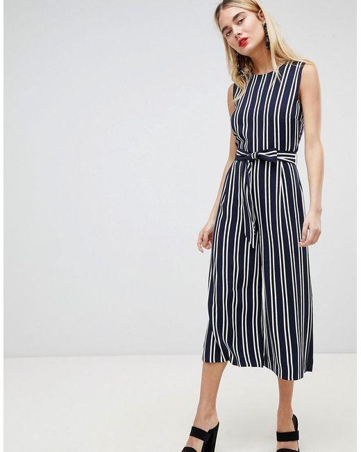 25b25433107 Warehouse - Blue Stripe Culotte Jumpsuit - Lyst ...