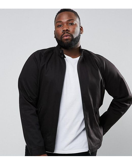 ASOS | Plus Harrington Jacket With Funnel Neck In Black for Men | Lyst