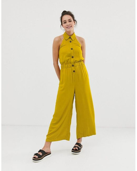 254baa9e4db0 ASOS - Yellow Button Front Collar Culotte Jumpsuit - Lyst ...