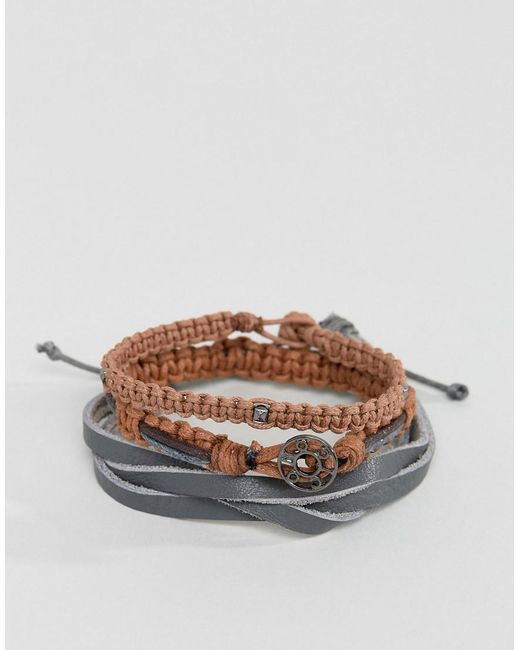 Icon Brand | Black Ico N Brand Grey Leather & Beaded Braclet In 2 Pack for Men | Lyst