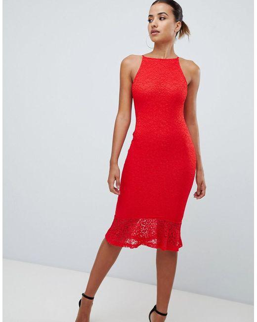 d157b98f58 AX Paris - Red Sqaure Neck Midi Dress With Frill Hem - Lyst ...