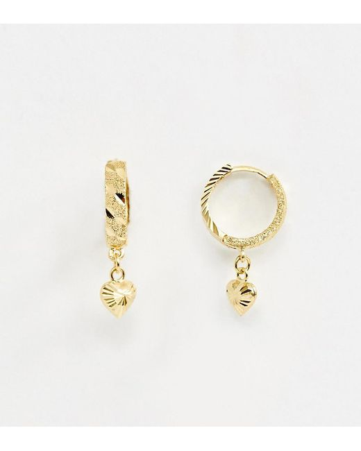 1c84d49a63cc ASOS - Metallic Sterling Silver With Gold Plate Hoop Earring With Heart  Charm - Lyst ...