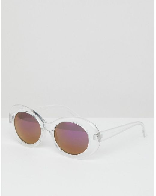 fc949b7498 ASOS - Metallic Oval Sunglasses In Clear With Purple Mirror Lens for Men -  Lyst ...