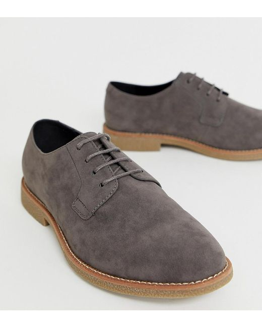 ASOS Gray Wide Fit Lace Up Shoes In Grey Faux Suede With Faux Crepe Sole for men