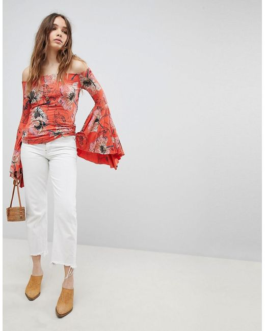 Birds of Paradise Printed Flared Sleeve Blouse - Red Free People Outlet Best NP0PT