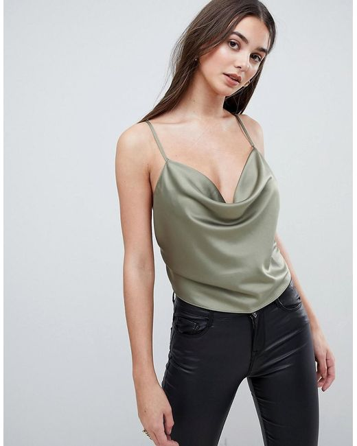 ASOS - Green Backless Cowl Neck Top - Lyst
