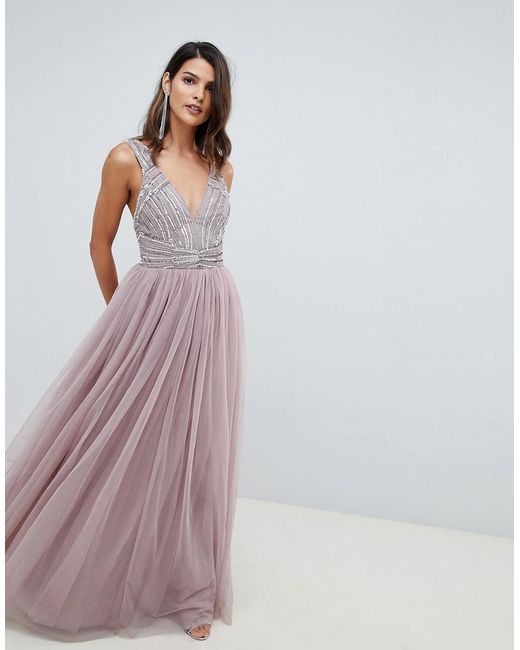 beautiful design lowest discount low cost Women's Pink Maxi Dress In Tulle With Embellished Bodice