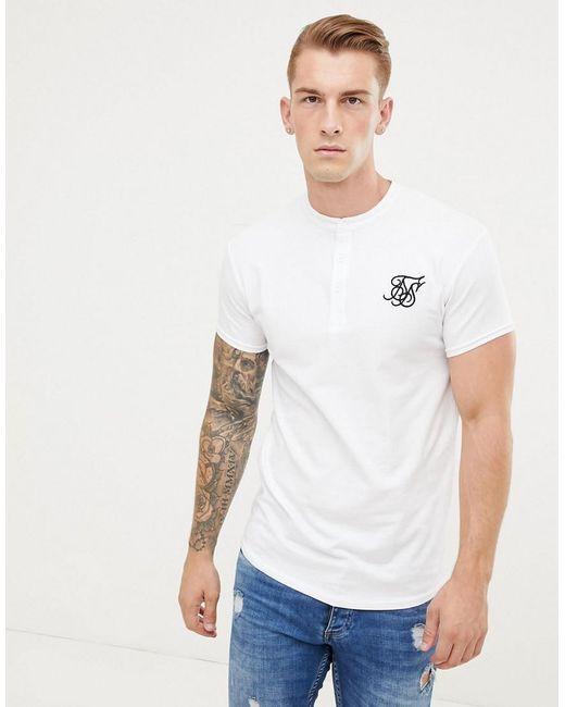 rendimiento confiable mejores ofertas en colección de descuento Camiseta blanca con cuello henley de hombre de color blanco