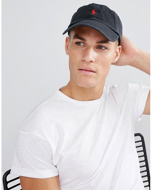 Polo Ralph Lauren - Black Gorra negra con logo de jugador en rojo de for  Men ... 571dec10e3d
