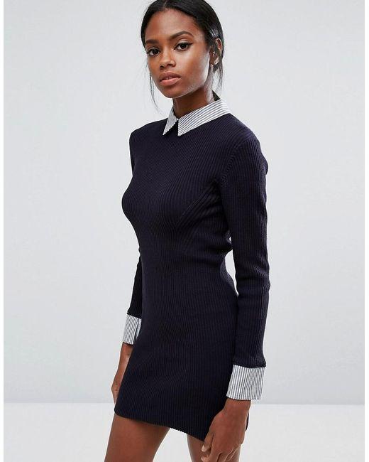 French connection 45 degree rib knit shirt dress in blue for French connection shirt dress