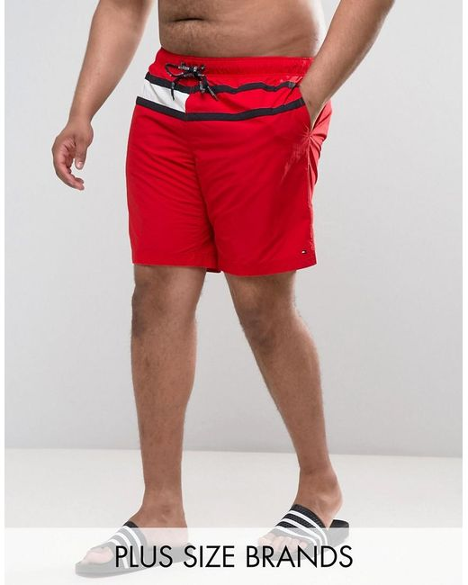 Tommy Hilfiger   Plus Flag Swim Shorts In Red for Men   Lyst