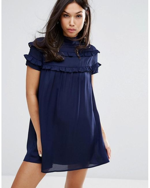 Fashion Union | Blue High Neck Dress With Double Frill | Lyst