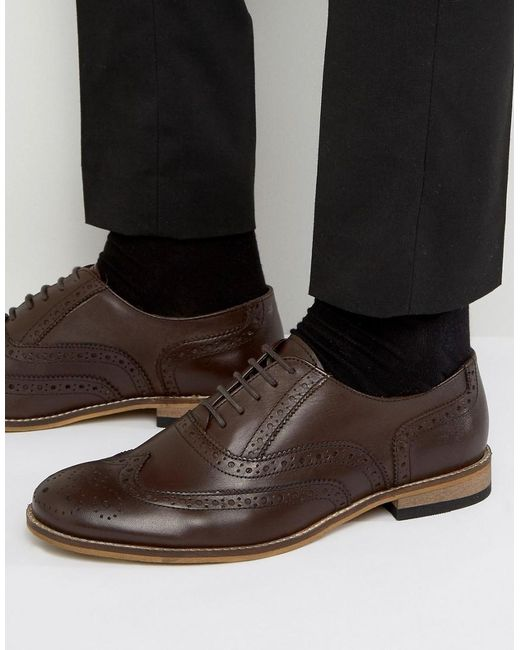 Dune | Braker Brogues In Brown Leather for Men | Lyst