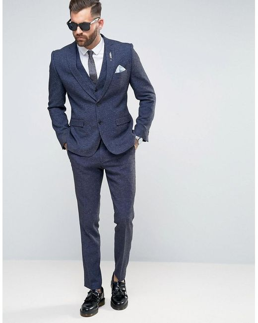 Rudie Super Skinny Navy Nepp Suit Jacket in Blue for Men | Lyst