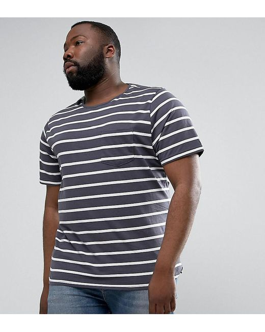 Another Influence | Blue Plus Wide Stripe Curved Hem T-shirt for Men | Lyst