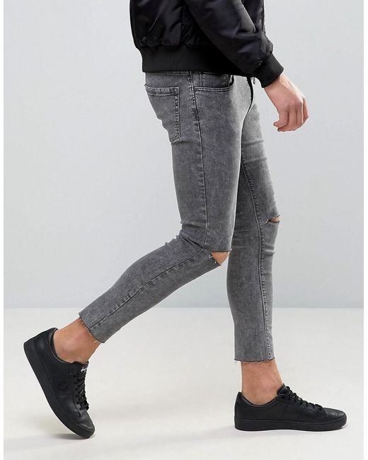 Pull&bear Super Skinny Cropped Jeans With Rips In Gray in Black ...