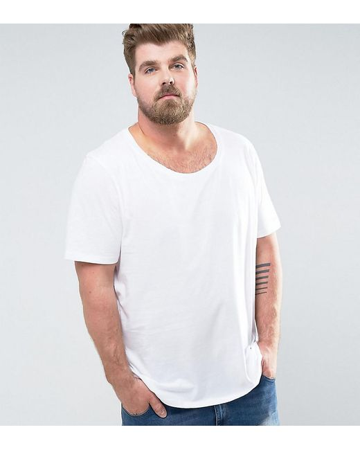 ASOS | Plus Longline T-shirt With Scoop Neck In White for Men | Lyst