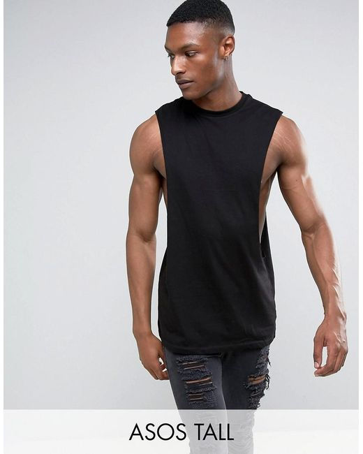 Asos Tall Longline Sleeveless T Shirt With Extreme Dropped