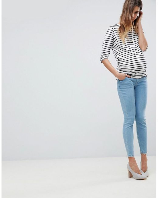 DESIGN Ridley high waist skinny jeans in bright light stone wash - Mid wash blue Asos Amazing Price h3hSw