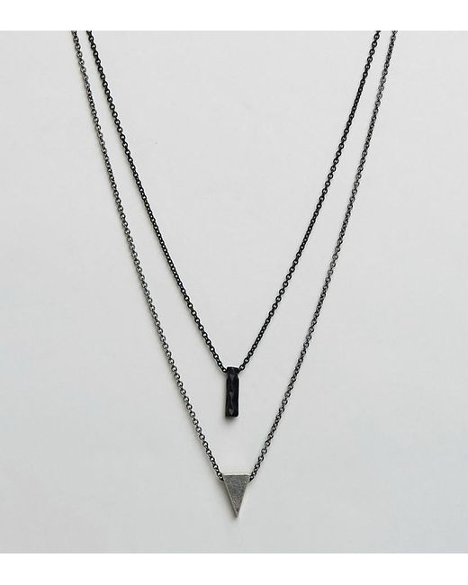 Icon Brand | Metallic Triangle & Twisted Pendant Necklaces In 2 Pack for Men | Lyst