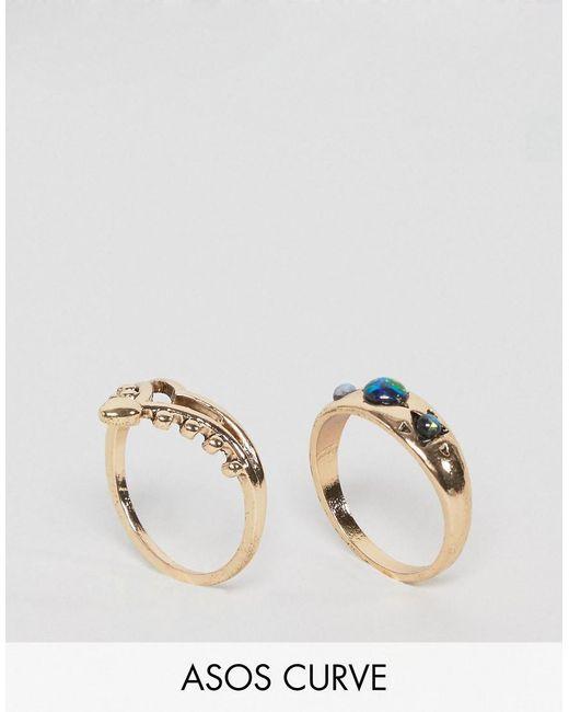 ASOS | Metallic Pack Of 2 Shimmer Stone Rings | Lyst