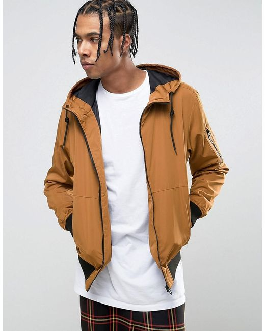 Bershka Hooded Bomber Jacket In Tan in Brown for Men | Lyst