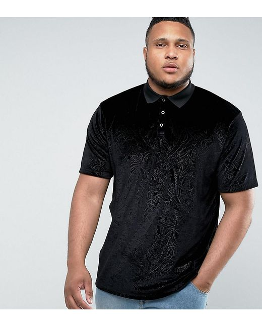 ASOS | Black Plus Longline Polo In Embossed Floral Velvet for Men | Lyst