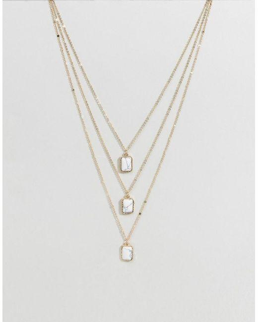 Ashiana | Metallic Triple Layered Stone Necklace | Lyst