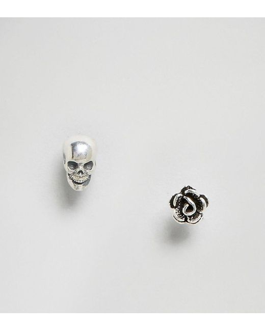 Regal Rose | Metallic Sterling Silver Life & Death Mis Match Stud Set | Lyst