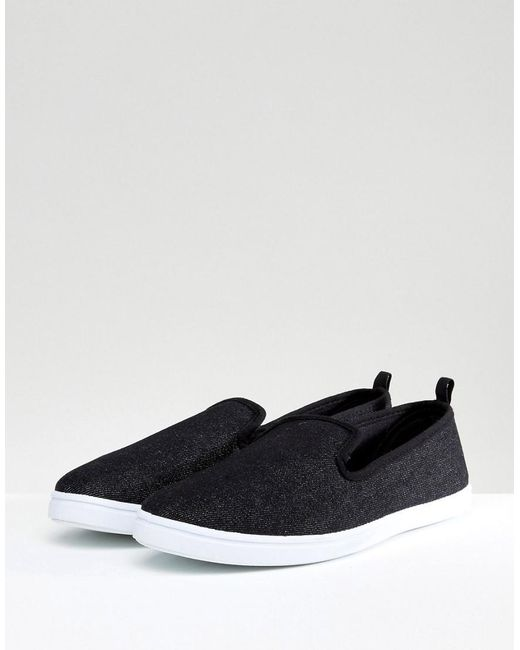 new look canvas slip on plimsolls in black in black for