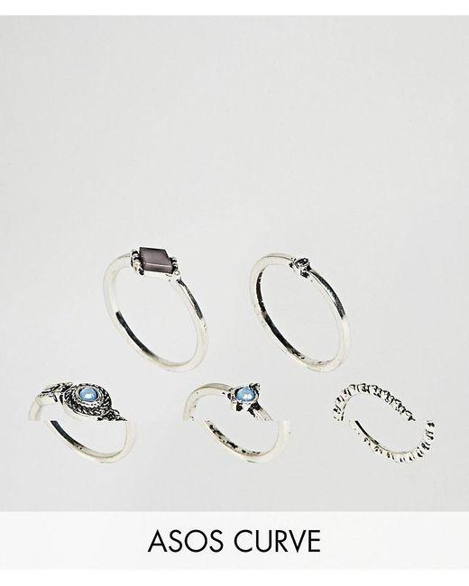 ASOS | Metallic Pack Of 5 Engraved Mini Stone Rings | Lyst