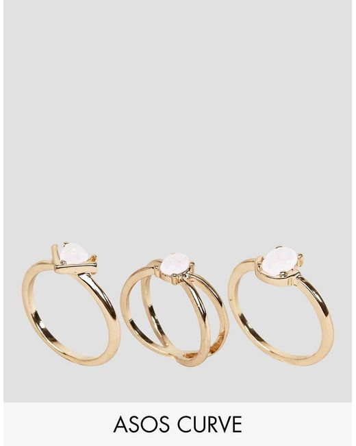 ASOS | Metallic Pack Of 3 Fine Faux Opal Stone Rings | Lyst