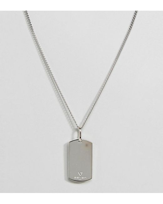 Seven London | Metallic Sterling Silver Dog Tag Necklace In Silver for Men | Lyst