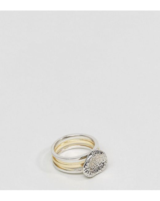 Serge Denimes | Metallic Stacked Bedrock Ring In Solid Silver With Silver & Gold Plating for Men | Lyst
