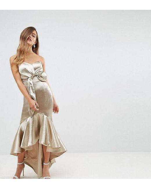 Wrap Front Bardot Midi Dress With Fluted High Low Hem - Gold metallic Jarlo smoEWxxdL