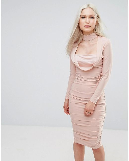 AX Paris | Pink Long Sleeve Slinky Dress | Lyst