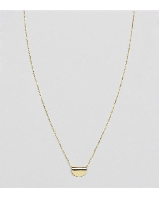 ASOS | Metallic Gold Plated Sterling Silver Semi-circle Necklace | Lyst