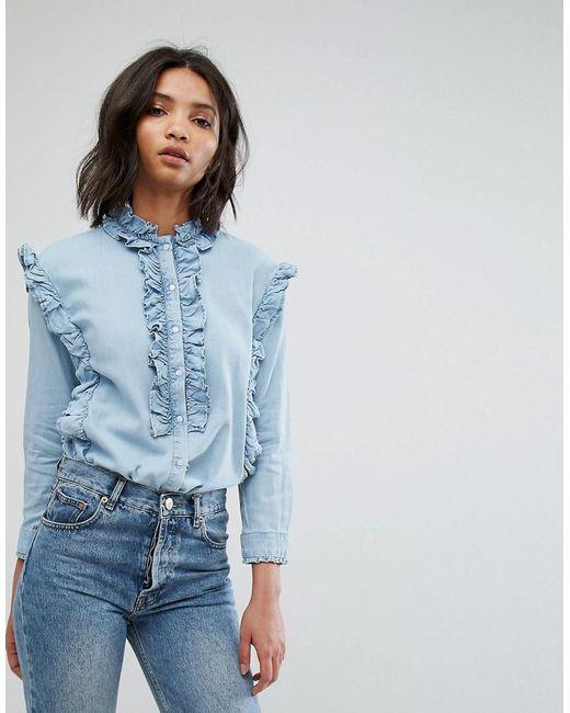 Mango   Blue Frill Denim Shirt   Lyst