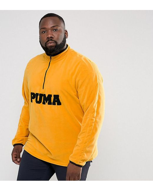 PUMA | Plus Half Zip Borg Fleece In Yellow Exclusive To Asos 57658302 for Men | Lyst