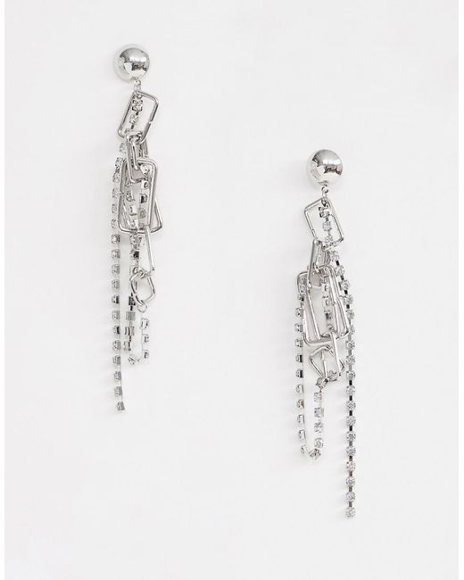 ASOS - Metallic Earrings With Rectangle Open Links And Crystal Strands In Silver - Lyst