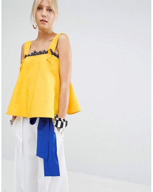 Sportmax Code   Yellow Ketch Pinny Top   Lyst