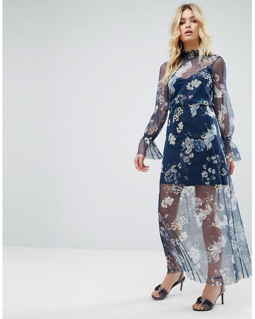 ASOS - Blue Printed Mesh Maxi Dress With Shirred Neck - Lyst