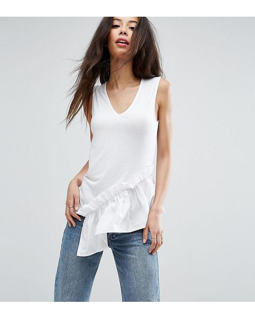 ASOS - White Sleeveless Top With Shirting Hem - Lyst