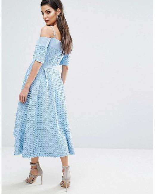 The 8th Sign Hibiscus Lace Full Skirt Dress - Blue The 8th Sign jqpIz5