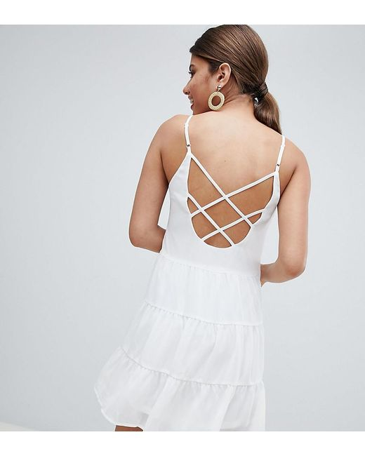 5d3ce39b0cead Missguided - White Tiered Strappy Mini Dress - Lyst ...