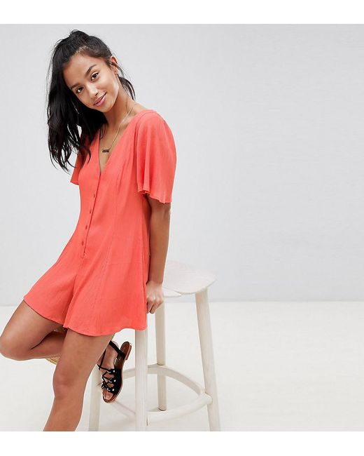 50090dfac6 ASOS - Red Asos Design Petite Swing Playsuit With Button Detail - Lyst ...