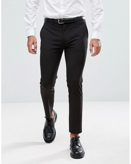 9ed8e0520a1f Lyst - ASOS Super Skinny Cropped Smart Pants In Black in Black for Men