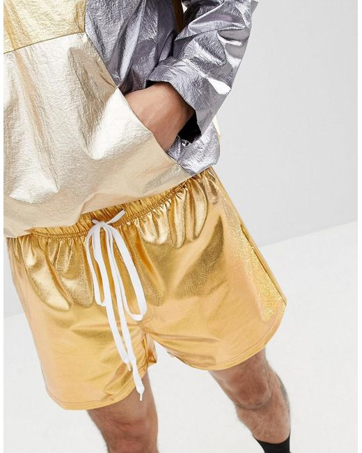 Inspired Shorts In Gold Metallic - Gold Reclaimed Vintage Cheap Wiki Free Shipping Shop For Sale Browse Discount 2018 Sale Top Quality Nudifaj