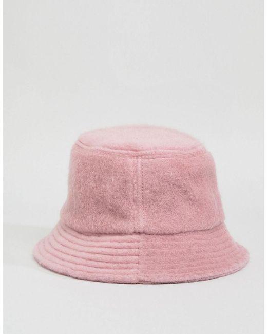 e6f9369594016 ... ASOS - Pink Fluffy Bucket Hat - Lyst